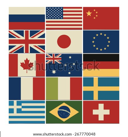 Most popular flags set with vintage colors. Vector illustration. - stock vector