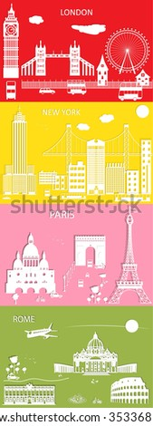 Most popular places to see in style paper cut. Around the World Travel Set. - stock vector
