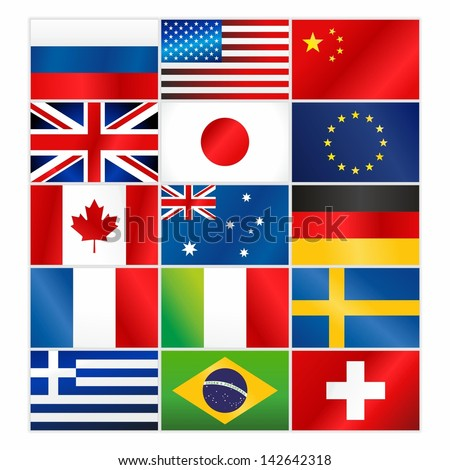 Most popular vector flags/Most popular vector flags - stock vector