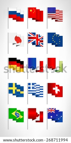 Most popular world flags set. Flat design.  - stock vector