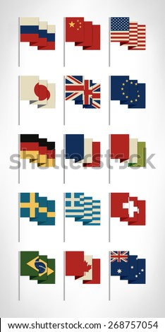 Most popular world flags set with vintage colors. Flat design.