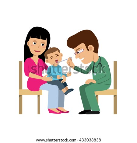 Mother and a little son visiting the doctor. The pediatrician exams baby's mouth. Vector art isolated on white. Cartoon style. Great illustration for school books. magazines, advertising etc. - stock vector