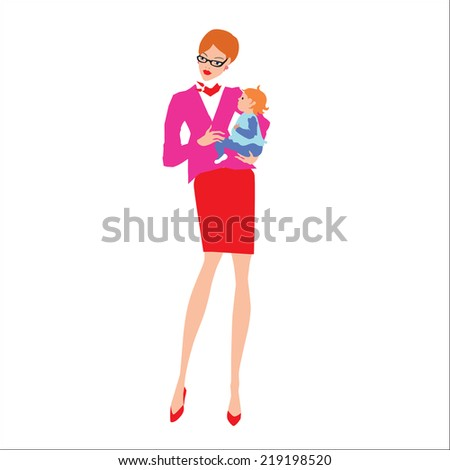 Mother and baby boy. Vector. Eps 10. - stock vector