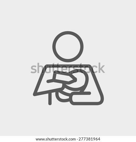 Mother and baby breastfeeding icon thin line for web and mobile, modern minimalistic flat design. Vector dark grey icon on light grey background. - stock vector