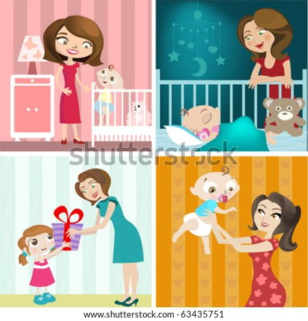 mother and baby design set - stock vector