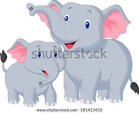 Mother and baby elephant - stock vector