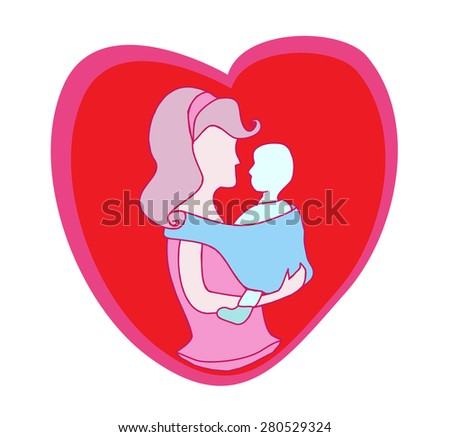 mother and baby icon - stock vector