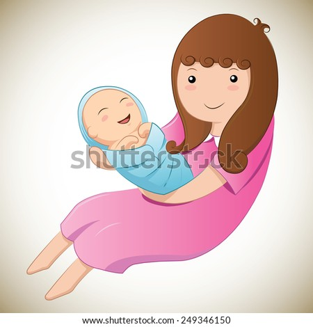 Mother and baby in her arms - stock vector