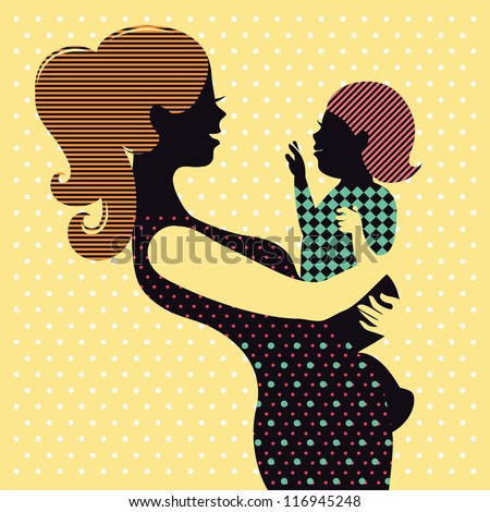 Mother and baby in retro style - stock vector