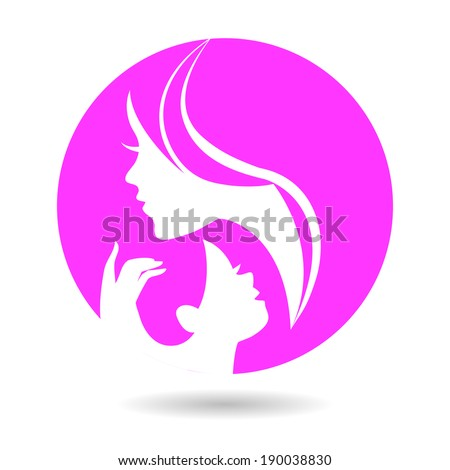 Mother and baby silhouettes. Card of Happy Mother's Day	 - stock vector