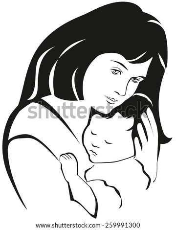 Mother and baby symbol, hand drawn silhouette. Happy Mothers Day celebration. - stock vector