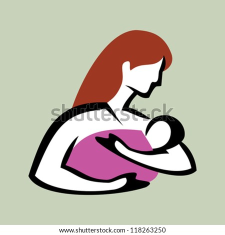 mother and baby symbol vector - stock vector