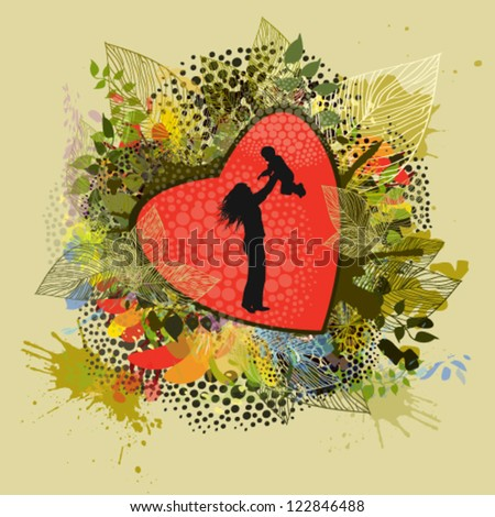 mother and baby vector silhouette - stock vector