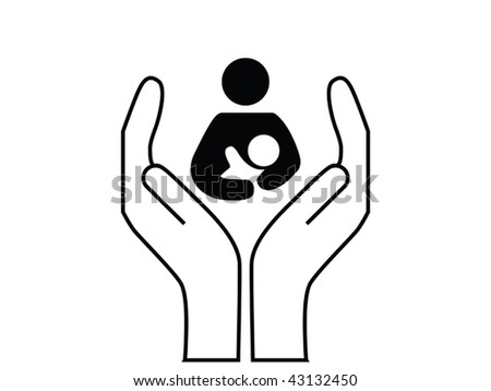 mother and child care vector - stock vector