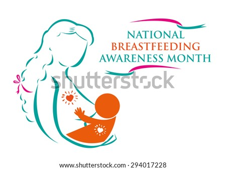 Mother and Child for National Breastfeeding Awareness Month concept. Editable Clip Art. - stock vector