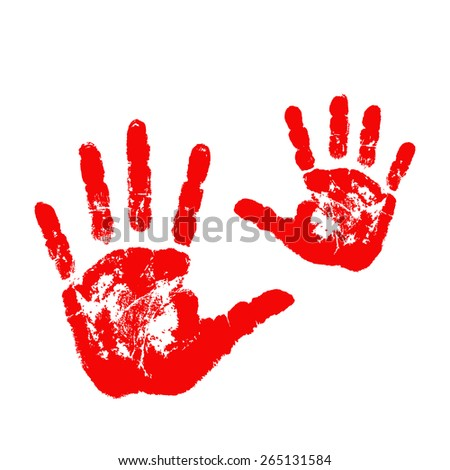 Mother and child handprints isolated on white background. Vector illustration. - stock vector