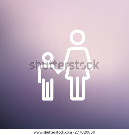 Mother and child icon thin line for web and mobile, modern minimalistic flat design. Vector white icon on gradient mesh background. - stock vector