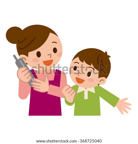 Mother and children in the phone - stock vector