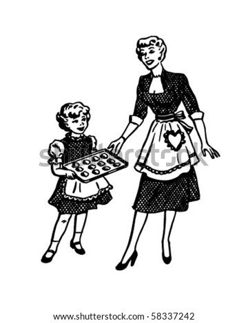 Mother And Daughter Baking - Retro Clip Art - stock vector