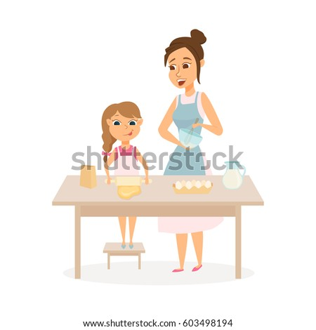 Mother and daughter cooking on kitchen. Mom and child baking together. Woman is beating cream and girl rolls the dough. Happy family. Cartoon vector characters isolated on white