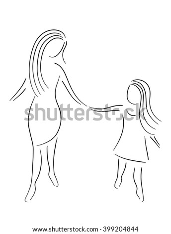 mother and daughter holding hands - stock vector