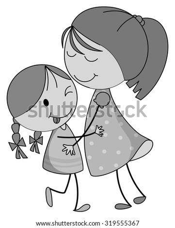 Mother And Daughter Hugging Cartoon