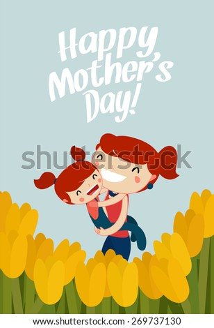 mother and daughter hugging. mother's day card - stock vector