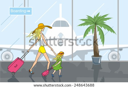 Mother and daughter in airport terminal are going to travel with suitcases. Travel illustration - stock vector