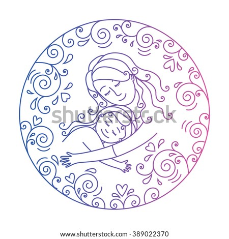 Mother and daughter in love inside round.Template for card.Mother and baby.Mother's day.Vector illustration.Colored illustration isolated on a white background