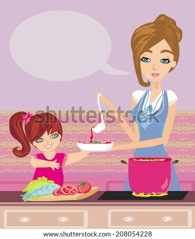 Mother and daughter tests food in the kitchen - stock vector