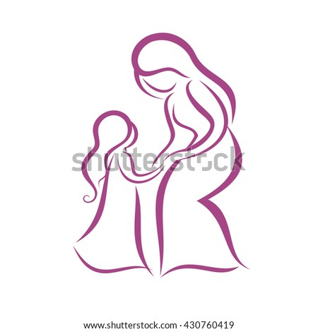 Mother Daughter Vector Symbol Stock Vector Royalty Free 430760419