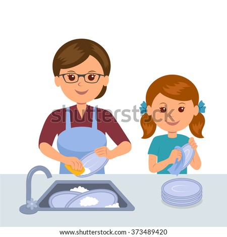 Mother and daughter washing the dishes. Concept joint work of mothers and daughters. Daughter helps mother clean up in the kitchen. - stock vector