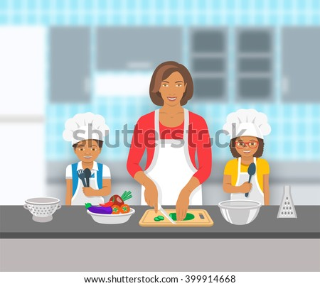 Mother and kids cooking together at a kitchen. Mom cuts vegetables for salad, happy little son and daughter help her. African American family domestic pastime background. Vector flat illustration - stock vector