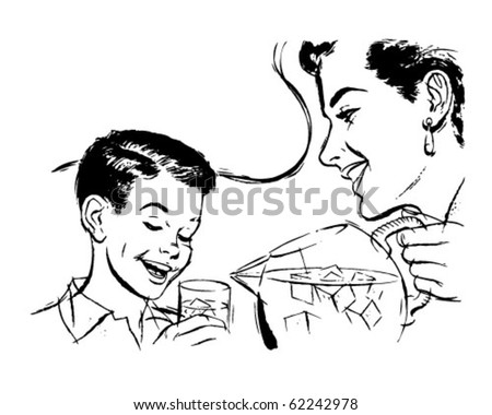 Mother And Son Drinking - Retro Clipart Illustration - stock vector
