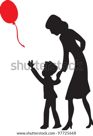 mother and son released into the sky red gel balloon - stock vector