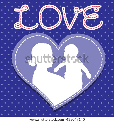 mother and son stylized vector silhouette, outlined sketch of mom and child, blue white background, banner or flyer with text Mom for Happy Mothers Day celebration. modern mom.