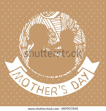 mother and son stylized vector silhouette, outlined sketch of mom and child, brown white background, banner or flyer with text Mom for Happy Mothers Day celebration. modern mom.
