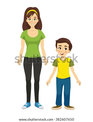 mother and son vector - stock vector
