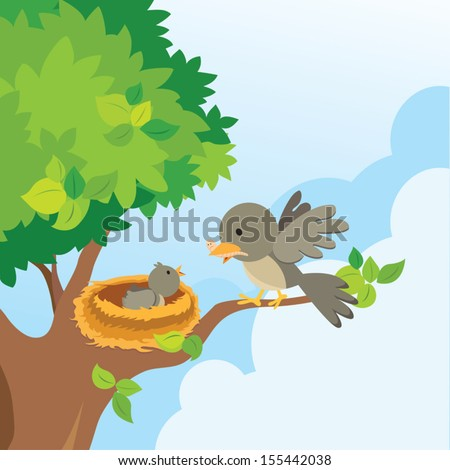 Mother bird love. Mother bird feeds the worm to her baby bird in the nest on the tree. - stock vector