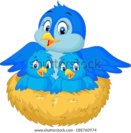 Mother bird with her two babies in the nest - stock vector