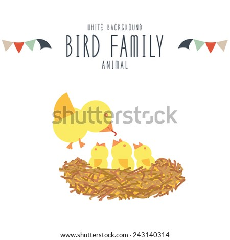 Mother birds find food to feed baby birds in the nest on white background. - stock vector