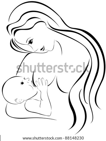 Mother breastfeeding her baby. Mother and newborn baby. - stock vector