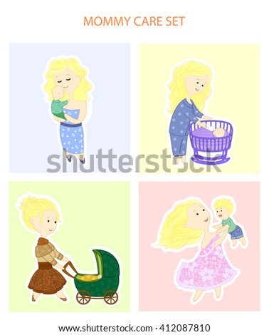 Mother care set. Freehand drawing, flat. Mom with baby. - stock vector