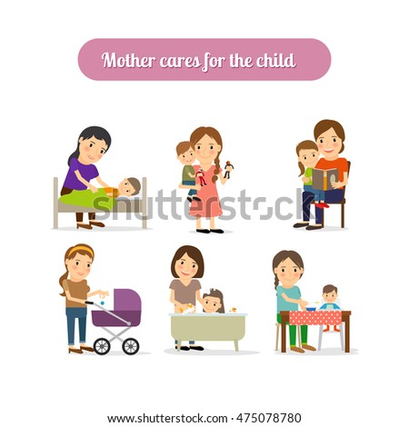 Mother cares for the child characters set. Vector illustration