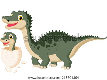 Mother dinosaur with baby hatching - stock vector