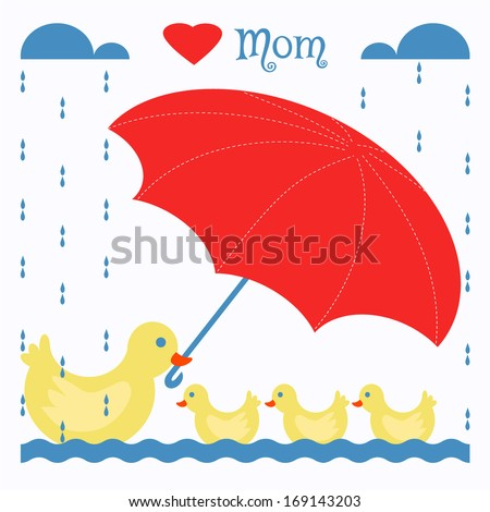 Mother Duck Holding Umbrella To Baby Ducks In The Rain