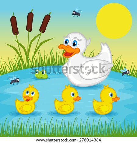 mother duck  with  ducklings on lake - vector illustration, eps - stock vector
