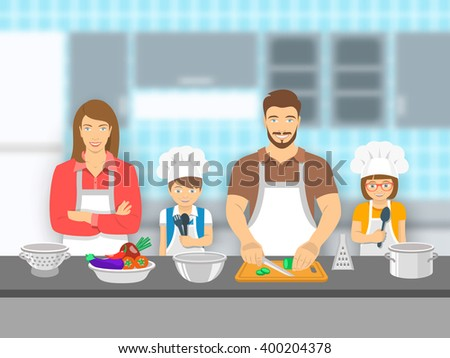 Mother,  father and kids cooking together at a kitchen. Dad cuts vegetables for salad, happy little son and daughter help him. Family domestic pastime background. Vector flat illustration - stock vector