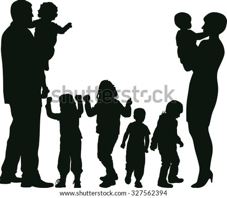 mother, father and kids silhouettes - stock vector