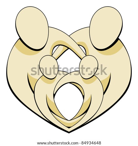 Mother, father and two children family group embracing and holding hands in a heart shape. - stock vector